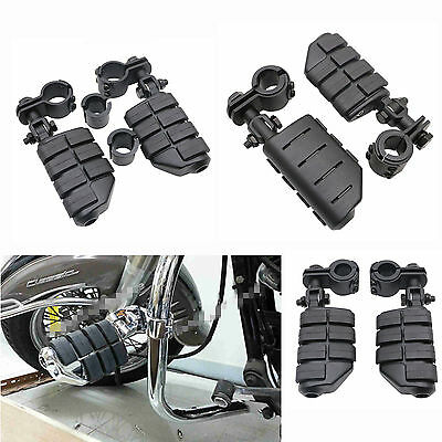 """Black 1-1/4"""" Highway Foot Pegs Footrest Engine Guard Mounts Clamps For Harley"""
