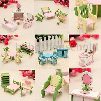 Wooden Furniture Dolls House Family Miniature Room Set Child Kids Gift Toy new