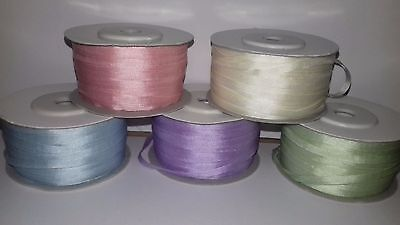50 Metres 4mm Pure Silk Ribbon ASSORTED Embroidery Pink Blue White Lilac Green
