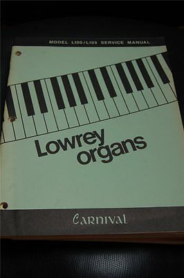 Original Lowrey Service Manual Model  L100 / L105