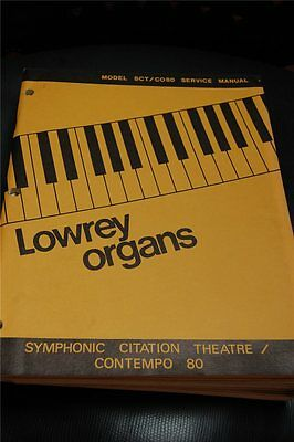 Original Lowrey Service Manual Model SCT/C080