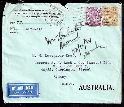 GB KGV 1934 3d & 1/- on airmail postal history cover WS2851