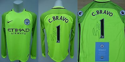 2016-17 Man City Keeper Shirt Signed by Claudio Bravo No.1 - Official COA (9487)