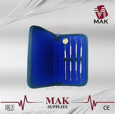 MAK Professional Dental 4 Piece Scalers Probe Pick Set + Mouth Mirror Steel Tool