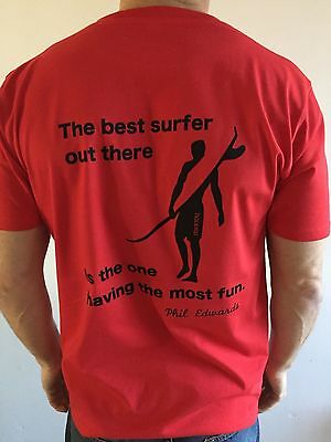 Medium Red Organic Cotton T Shirt The Best Surfer. A Real Surfing Company
