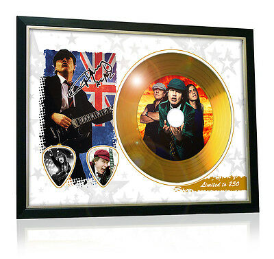 Angus Young Acdc Flag Style Signed Gold Disc Display