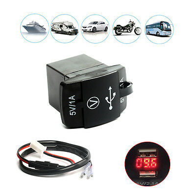 Motorcycle Motorbike USB 12V Charger Power Adapter Socket Waterproof For Phone