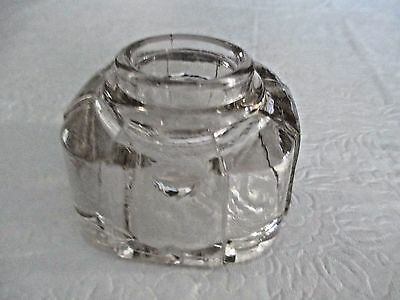 Antique Heavy Crystal Clear Glass Ink Well - No  Stopper