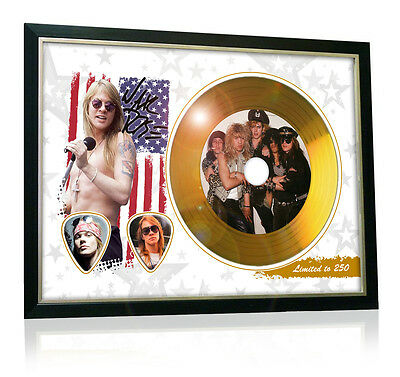 Axl Rose Guns N Roses Flag Style Signed Gold Disc Display