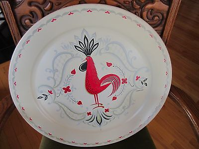 """VTG 1950's Mid-Century Modern Marcelline White Rooster METAL SERVING TRAY 19"""""""