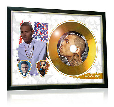 Chris Brown Flag Style Signed Gold Disc Display