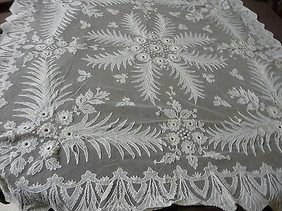 """#919B vtg tablecloth cover NET LACE Embroider Applique Scarf Shawl  35"""" x 37"""""""