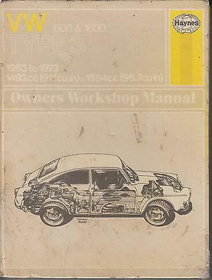 Vw Type 3 1500 1600 Notchback Fastback Variant 1963-73 Repair Manual *hardback*