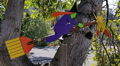 Wooden Witch Whirligig on Broom (NOS)