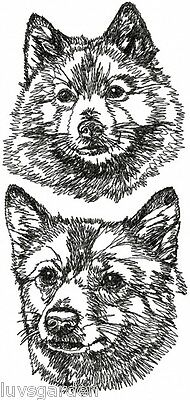 Finnish Spitz Graphic SET OF 2 HAND TOWELS EMBROIDERED Beautiful
