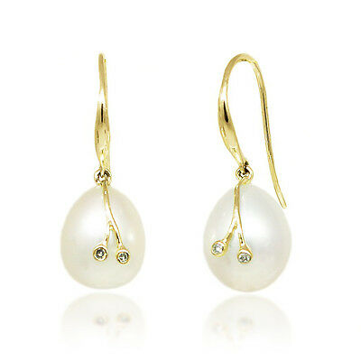 Perfect Gift! 100% 14K Yellow Gold Pearl Dangle Earrings with Diamond Accents