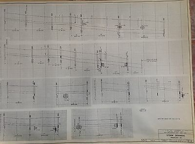 1964 Nyc World's Fair Storm Drainage Profiles Blueprint S-19 Flushing Queens Ny