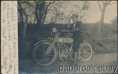 1912 Wagner 4-12 Motorcycle Real Photo Postcard