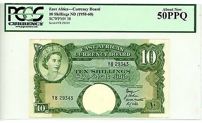 East Africa ... P-38 ... 10 Shillings ... ND(1958-60) ... *AU* ... PCGS 50 PPQ