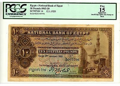Egypt ... P-14 ... 10 Pounds ... 12.Jan.1920 ... *F* ... PCGS 15
