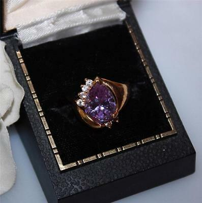 Vtg Amethyst Pear Shaped & Clear Rhinestone Cocktail Ring Size 6.5
