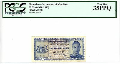 Mauritius ... P-24a ... 25 Cents ... ND(1940) ... *VF-XF* ... PCGS 35 PPQ