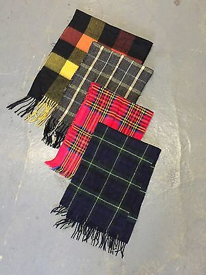 Vintage Wholesale Checked Tartan Wool Acrylic Scarves X 100