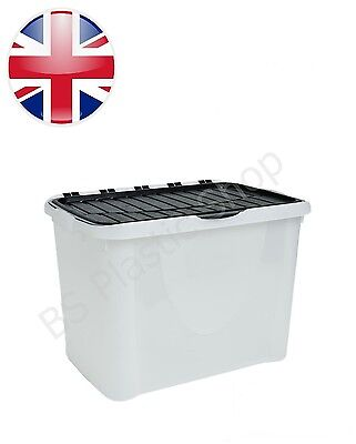 10x 65L Large Clear Plastic Black Lid Storage Boxes Home Office Stackable Box