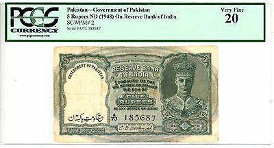 Pakistan ... P-2 ... 5 Rupees ... ND(1948) ... *VF* ... PCGS 20