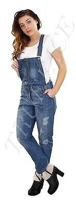 New Women Ladies Ripped Denim bodysuit Slim Fit Dungarees Button Fasten Overalls