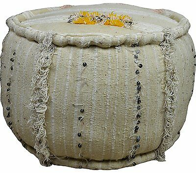Large Vintage Round Piped edge Moroccan Handmade Red Sequined Berber Kilim Stool