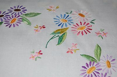 Vintage Floral Embroidered Cotton Linen Table Cloth - 33inch Square