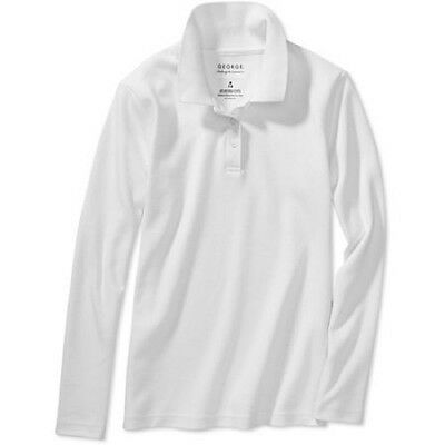George Girls' School Uniform Long Sleeve Polo, Large (10-12), Arctic White