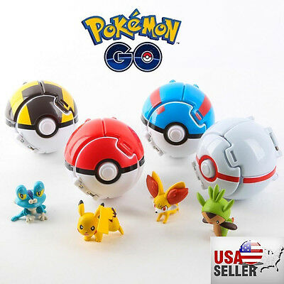 New! 4 x Pokemon Throw Pop PokeBall Cosplay Pop-up Elf Go Fighting Poke Ball Toy
