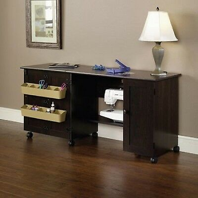 Sauder Sewing And Craft Table Machine Cabinet With Melamine Top Surface