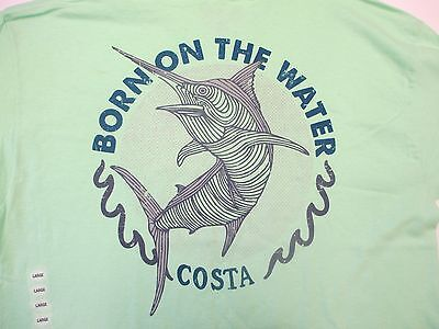 Short Sleeve T-Shirt  Large New Authentic Costa  Big Bass Red Charcoal