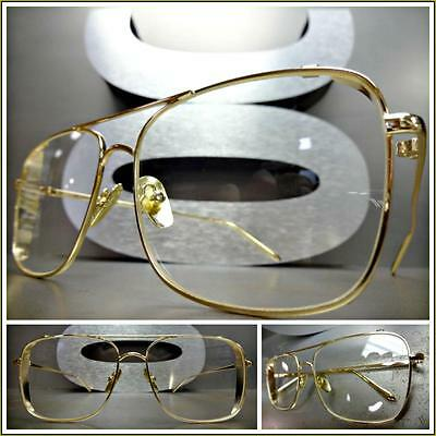 New CLASSIC VINTAGE RETRO Style Clear Lens EYE GLASSES Square Gold Fashion Frame