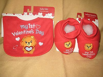 """my First 1St Valentine's Day"" Baby Boy Infant Booties Bib Lion Red Blue Heart"
