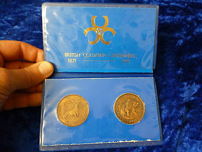 Canada Antiqued Bronze Medallion Pair 1971 British Columbia Centennial in wallet