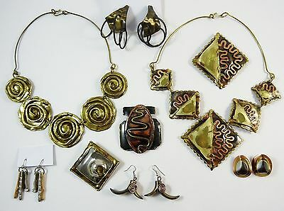 Lot of Vintage Brutalist Jewelry Mixed Metal Art Necklaces Brooches Earrings 9pc