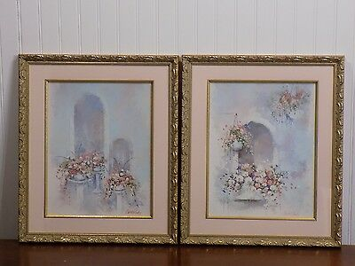 Pair of Beautiful Framed CHARLENE CAWLEY Floral Archway Art Prints