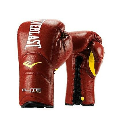 NEW Everlast Elite Leather Laced Boxing Gloves Size: 14 oz. Color: Red