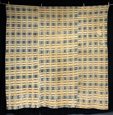 coverlet linen wool three color yellow blue white rough cutter antique 1800