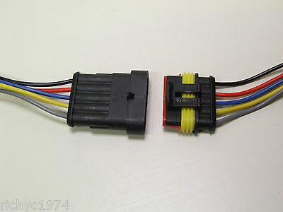 1x 5 WAY PRE WIRED WEATHER WATERPROOF SUPERSEAL CONNECTORS WIRING PIN CABLE