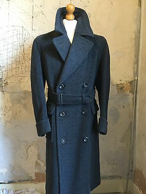 Mens Vintage 1940's Grey  Belted Double Breasted Overcoat Size 40
