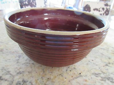 vtg Western Stoneware Crockery Brown Ribbed Mixing Bowl 9 1/4""