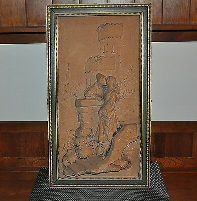 Antique Terra Cotta Artifact With Romeo & Juliet Panel Preserved & Nicely Framed
