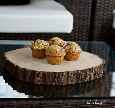 """13"""" Sanded Rustic Live Edge Round Wood, Baby Shower, Wedding Cake Serving Plate"""