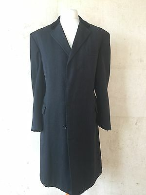 Vintage Burberry 1960's Grey Covert Coat With Velvet Collar Size 42