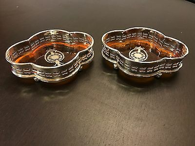 Fine Pair Of Silver Plate Wine Bottle Coasters. Open To Offers.